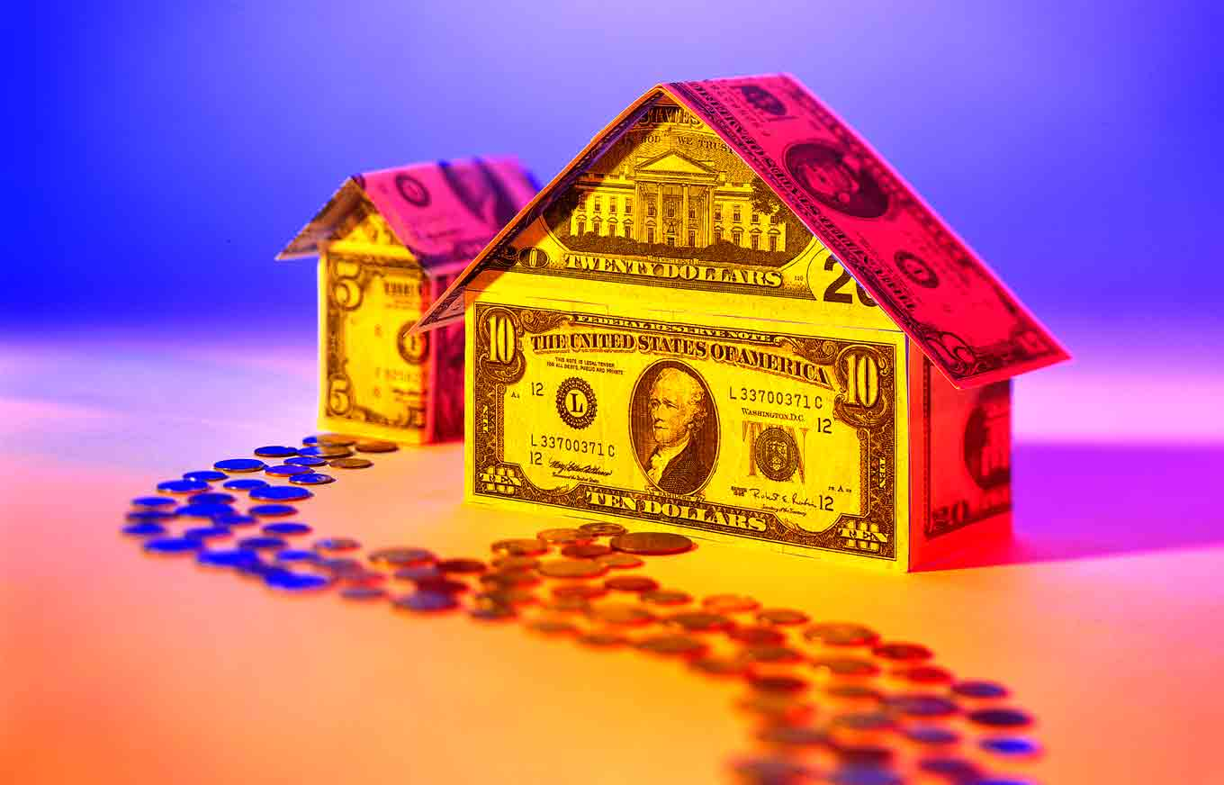 multicolored house made of money with path of penny to illustrate second chance loans