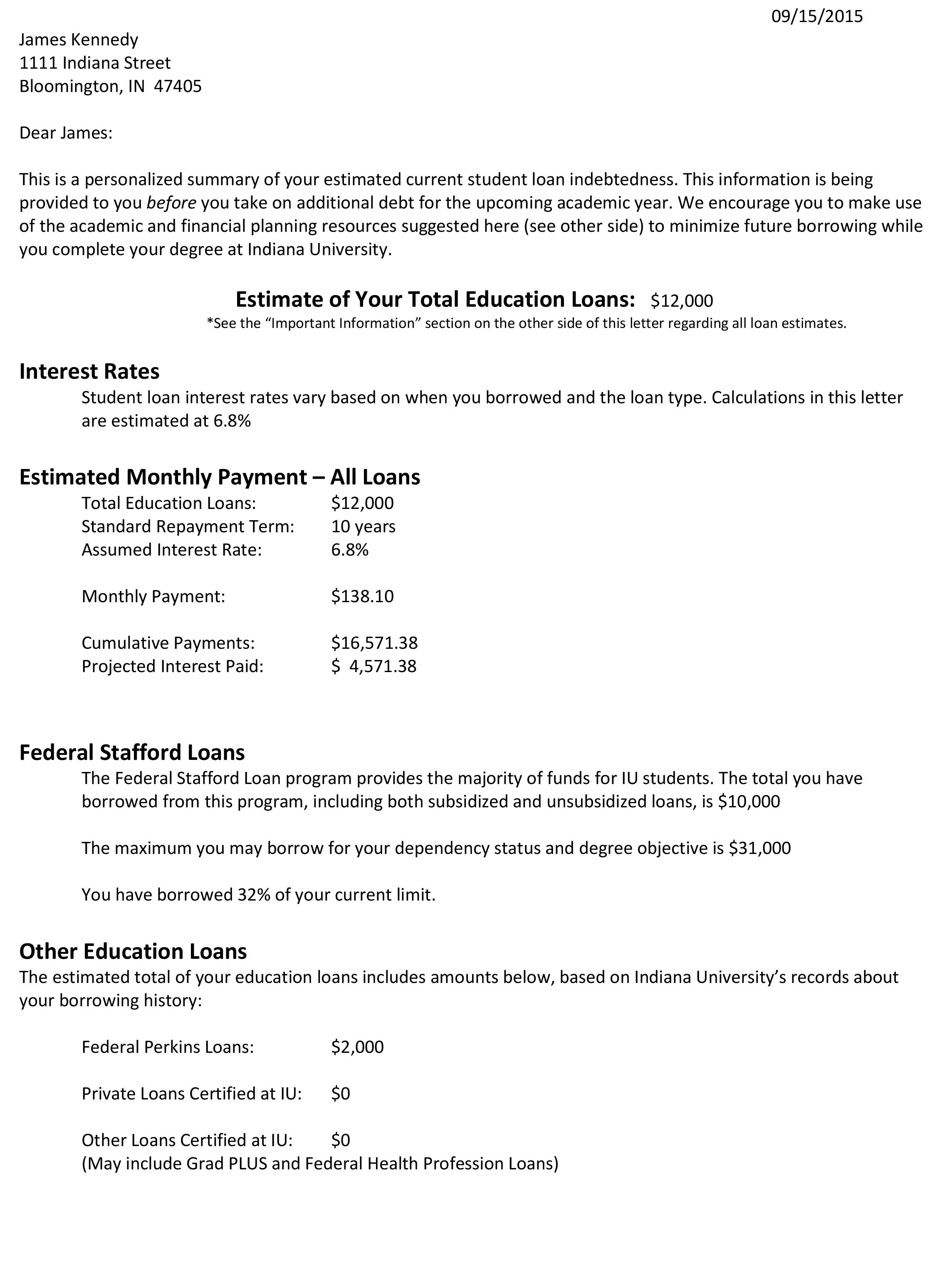 Loan Debt Letter Example 1