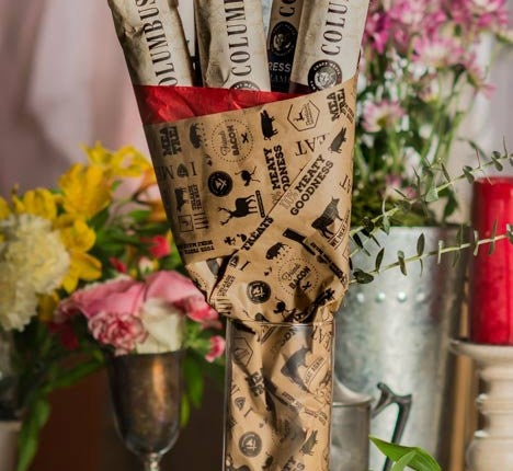 Man Crates Salami Bouquet