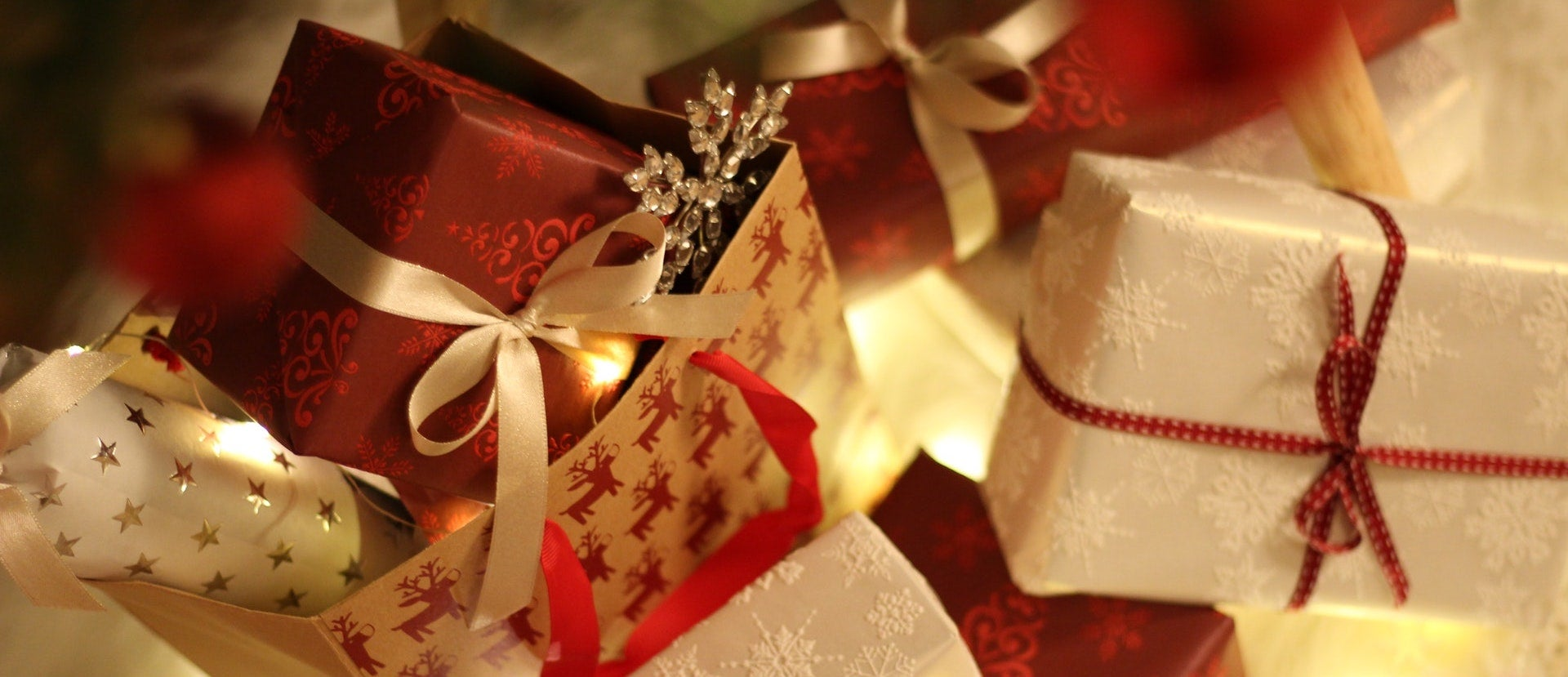 Close up of small wrapped Christmas presents