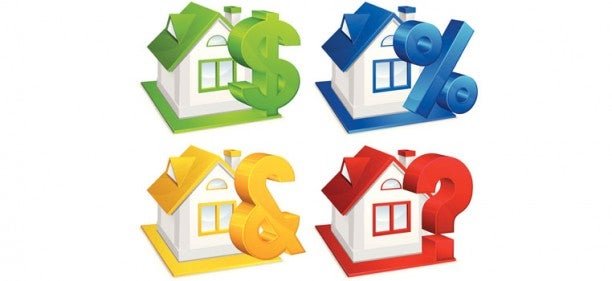 4 illustrated houses--green, blue, yellow, red--with question marks about mortgage points