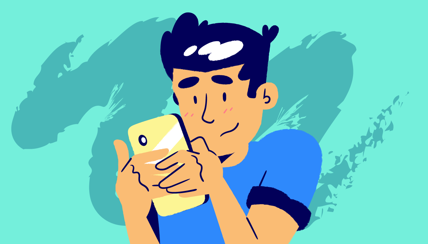 man using smmart phone illustration