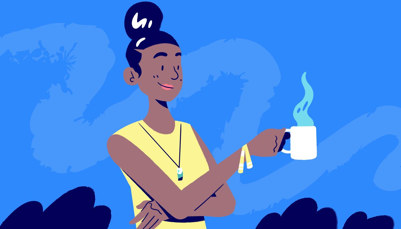 illustration woman taking a coffee break