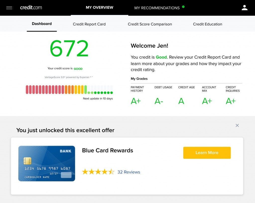 Screenshot of the free Credit Report Card from Credit.com
